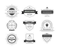 Black premium quality advertisement badges Royalty Free Stock Images