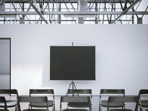 Black presentation roller screen in conference room. 3d rendering Stock Images