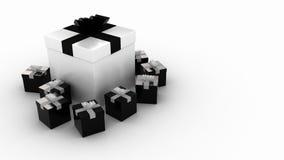 black presenterar white Arkivbild