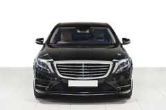 Black prestige business car exterior - front view Royalty Free Stock Images