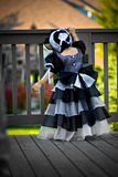 Black princess dress and bonnet Stock Photos