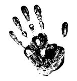Black Print of hand. Vector grunge illustration Stock Photo