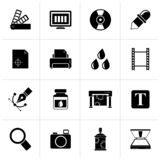 Black Print industry and graphic design icons. Vector icon set stock illustration