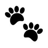 Black print paws animal cartoon. Royalty Free Stock Photo