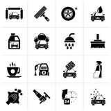 Black Professional car wash objects and icon. S - vector icon set Stock Photography