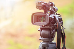 Professional digital video camera. Outdoor setup and working Stock Images