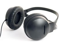 Black professional headphones Stock Photo