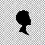 Black profile silhouette of boy or man head, face profile on transparent background. Black profile silhouette of young boy or man head, face profile, vignette Stock Photos
