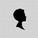 Black profile silhouette of boy or man head, face profile on transparent background. Black profile silhouette of young boy or man head, face profile, vignette Royalty Free Stock Photos