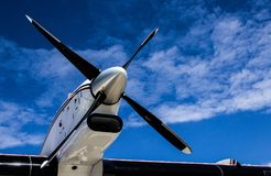 Black Propeller Against a Blue Sky Stock Photography