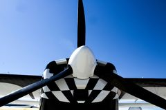 Black Propeller on a Black and White Airplane Stock Images