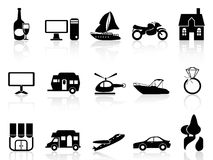 Black property icons set Stock Image