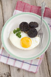 Black pudding and fried egg Royalty Free Stock Photo