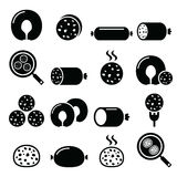 Black pudding sausage, haggis, white pudding icons set Stock Photos