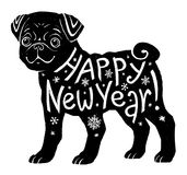 Black pug silhouette with hand drawn lettering Happy New  Royalty Free Stock Images