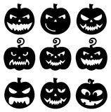 Black pumpkins Halloween vector set on white background. Evil Pumpkins Halloween vector set vector illustration