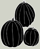 Black Pumpkins Stock Photography