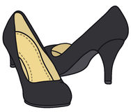 Black pumps. Hand drawing of a classic black pumps Stock Images
