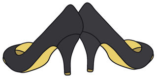 Black pumps. Hand drawing of a classic black pumps Stock Photo