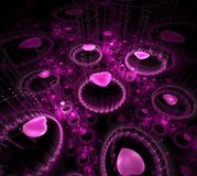 Black and purple background. Fractal hearts flying in dark space. Circles of pink water drops. Dotted rays beam from surface Royalty Free Illustration