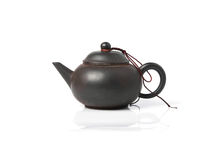 Black Purple Chinese Tea Pot isolated on white Stock Image