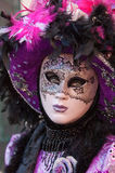 Black purple masked woman Royalty Free Stock Photos