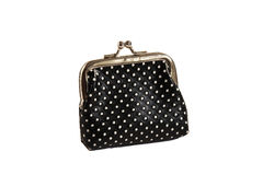 Black purse. With white points on the white background Stock Image