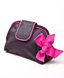 Black purse. Makeup or Accessory Bag with Pink Bow  on white background Royalty Free Stock Images