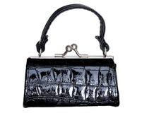 Black purse. Black leather purse isolated on white Stock Photo