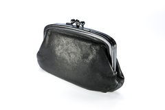 Black purse. On table. leather Stock Photography
