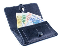 Black purse with banknotes Royalty Free Stock Photography