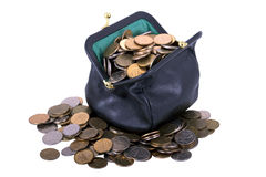 Black purse with coins Stock Photos