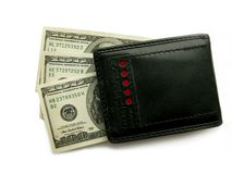 Black purse with dollars. Stock Photography