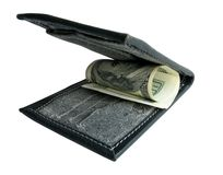 Black purse with dollars. Royalty Free Stock Image