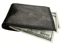 Black purse with dollars. Stock Photos