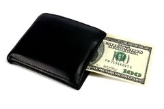 Black purse and dollars Royalty Free Stock Photography