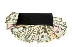 Black purse with dollars Stock Image