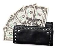 Black purse and dollars on white Stock Image
