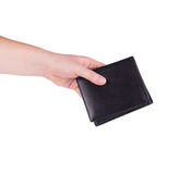 Black purse in hand. Stock Photography