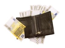 Black purse with lots of banknotes Royalty Free Stock Image