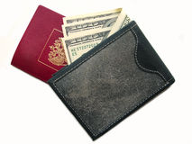 Black purse with money . Royalty Free Stock Photography