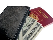 Black purse with money . Royalty Free Stock Image