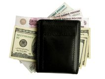 Black purse with money. Stock Photos