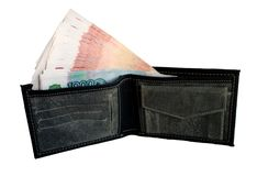 Black purse with money. Stock Photography