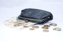 Black purse and money Royalty Free Stock Photo
