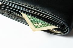 Black purse with moneys (dollars). Stock Photography