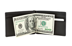 Black purse with paper money Royalty Free Stock Photo