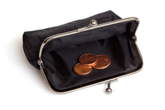 Black purse and several euro cent coins. Stock Image