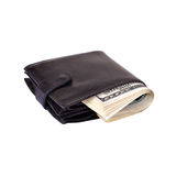 Black purse stuffed with money Stock Photography