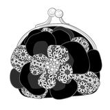 Black purse with white lace Royalty Free Stock Image